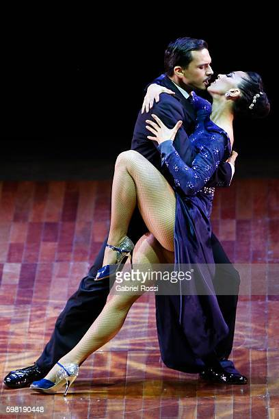 Leonardo Montiel and Maria Contanstanza Vieyto of Argentina dance during the Stage Tango Final as part of Buenos Aires Tango Festival World...