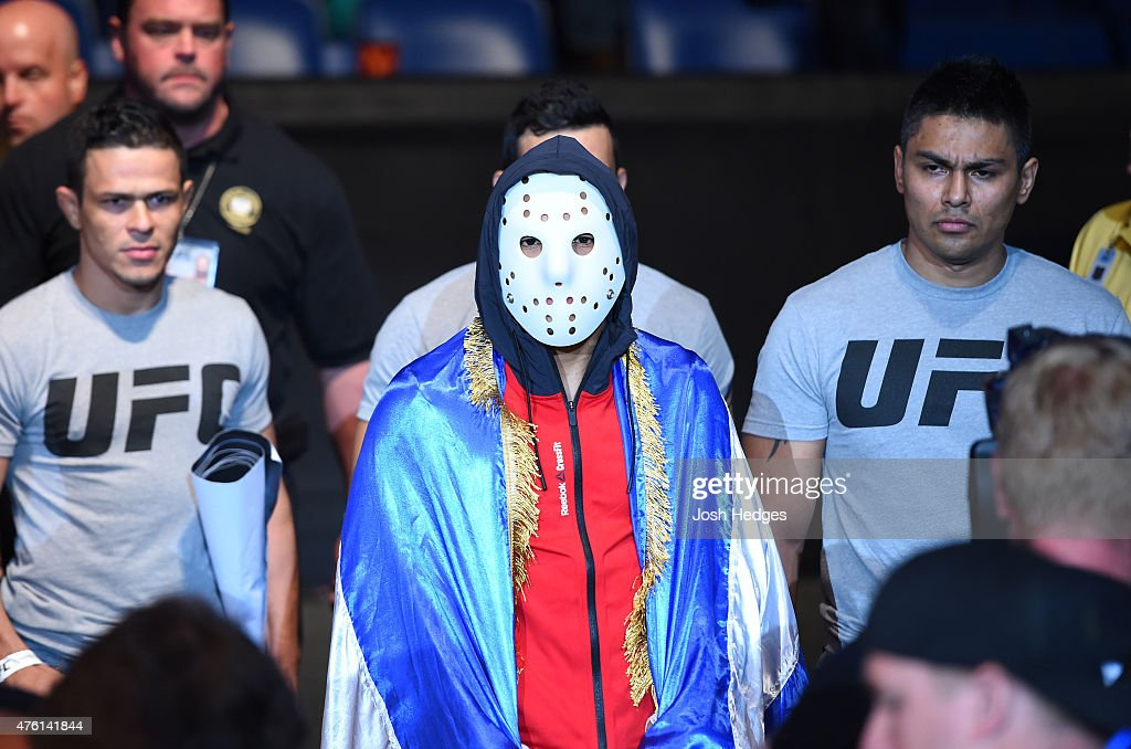 Leonardo Morales prepares to enter the Octagon before facing Jose Quinonez in their bantamweight bout during the UFC event at the Smoothie King Center on June 6, 2015 in New Orleans, Louisiana.