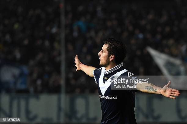Leonardo Morosini of Brescia celebrates after scoring his team's third goal during the Serie B match between Brescia Calcio and FC Crotone at Stadio...
