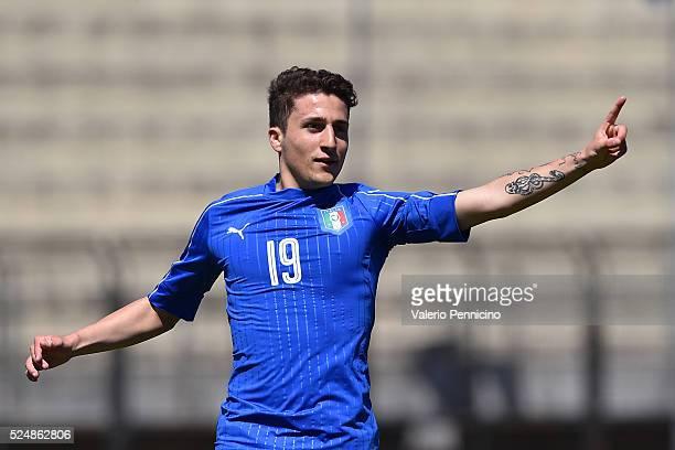 Leonardo Morosini of Italy U20 celebrates after scoring the opening goal during the match between Italy U20 and Denmark U20 on April 27 2016 in...