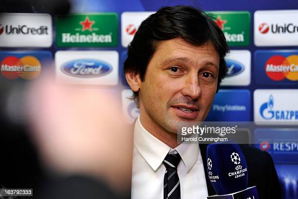 Leonardo Paris SaintGermain Sporting Director gives an interview after the UEFA Champions League quarter finals draw at the UEFA headquarters on...
