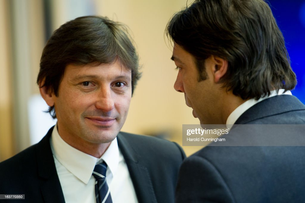 Leonardo, Paris Saint-Germain Sporting Director, looks on after the UEFA Champions League quarter finals draw as he speaks with Rui Costa, SL Benfica Club Director, at the UEFA headquarters on March 15, 2013 in Nyon, Switzerland.