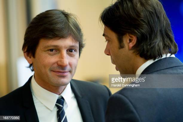 Leonardo Paris SaintGermain Sporting Director looks on after the UEFA Champions League quarter finals draw as he speaks with Rui Costa SL Benfica...