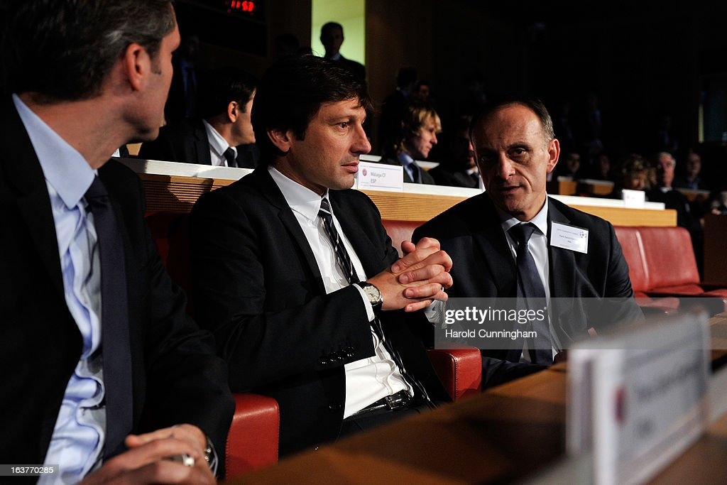 Leonardo, Paris Saint-Germain Sporting Director (C) looks on during the UEFA Champions League quarter finals draw at the UEFA headquarters on March 15, 2013 in Nyon, Switzerland.