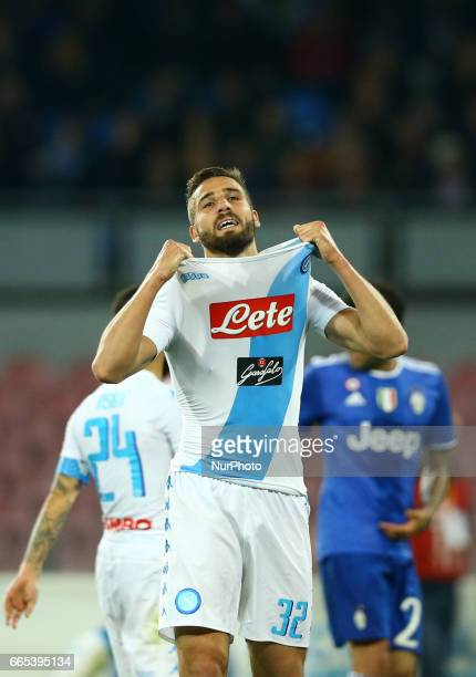 Leonardo Pavoletti after a missed goal during the TIM Cup match between SSC Napoli and Juventus FC at Stadio San Paolo on April 5 2017 in Naples Italy