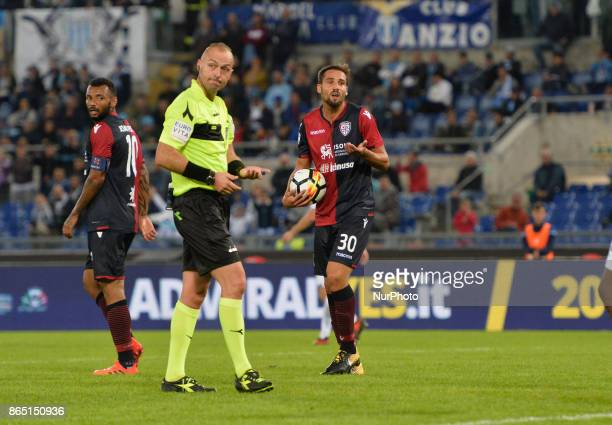 Leonardo Pavoletti during the Italian Serie A football match between SS Lazio and Cagliari at the Olympic Stadium in Rome on october 22 2017