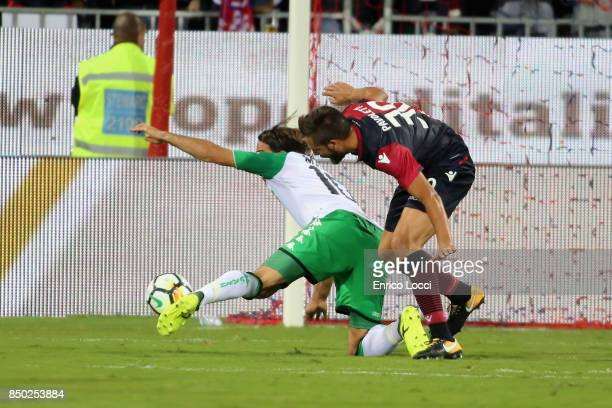 Leonardo Pavoletti of Cagliari and the penality of Alessandro Matri of Sassulo during the Serie A match between Cagliari Calcio and US Sassuolo at...