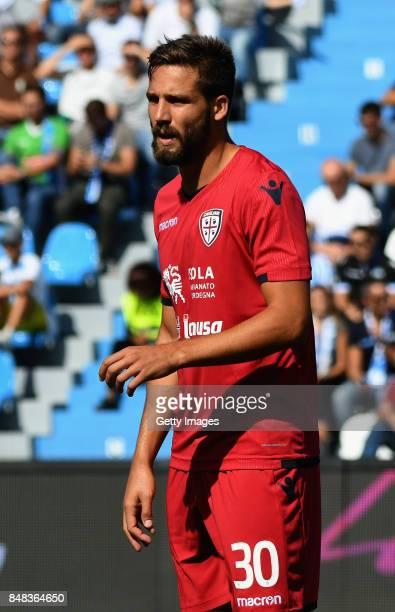 Leonardo Pavoletti of Cagliari Calcio reacts during the Serie A match between Spal and Cagliari Calcio at Stadio Paolo Mazza on September 17 2017 in...