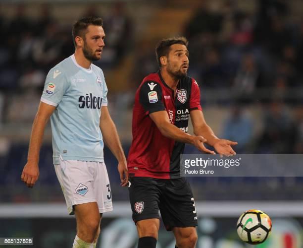 Leonardo Pavoletti of Cagliari Calcio reacts during the Serie A match between SS Lazio and Cagliari Calcio at Stadio Olimpico on October 22 2017 in...