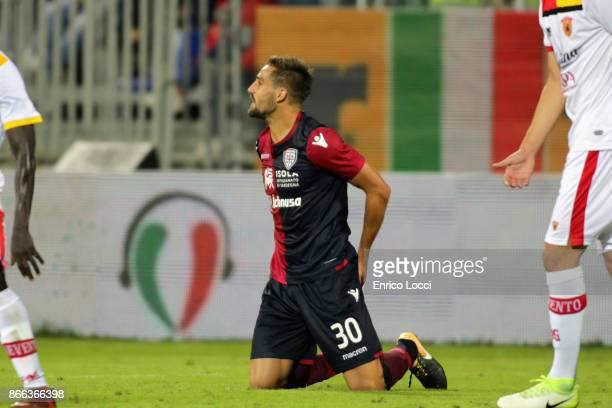 Leonardo Pavoletti of Cagliariseen during the Serie A match between Cagliari Calcio and Benevento Calcio at Stadio Sant'Elia on October 25 2017 in...