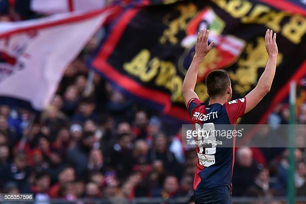 Leonardo Pavoletti of Genoa celebrates after scoring this team's second goal during the Serie A match between Genoa CFC and US Citta di Palermo at...