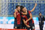 Leonardo Pavoletti of Genoa CFC celebrates after scoring during the Serie A match between Genoa CFC and US Sassuolo Calcio at Stadio Luigi Ferraris...