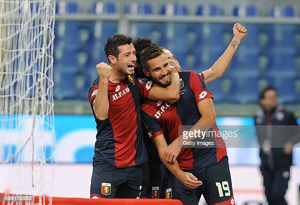 Leonardo Pavoletti of Genoa CFC celebrates after scoring during the Serie A match between Genoa CFC and US Sassuolo Calcio at Stadio Luigi Ferraris...