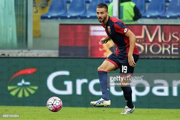 Leonardo Pavoletti of Genoa CFC in action during the Serie A match between Genoa CFC and AC Chievo Verona at Stadio Luigi Ferraris on October 18 2015...
