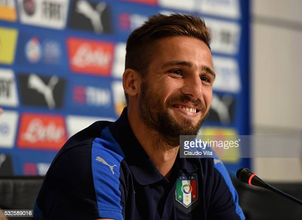 Leonardo Pavoletti of Italy speaks to the media during a press conference at the club's training ground at Coverciano on May 19 2016 in Florence Italy