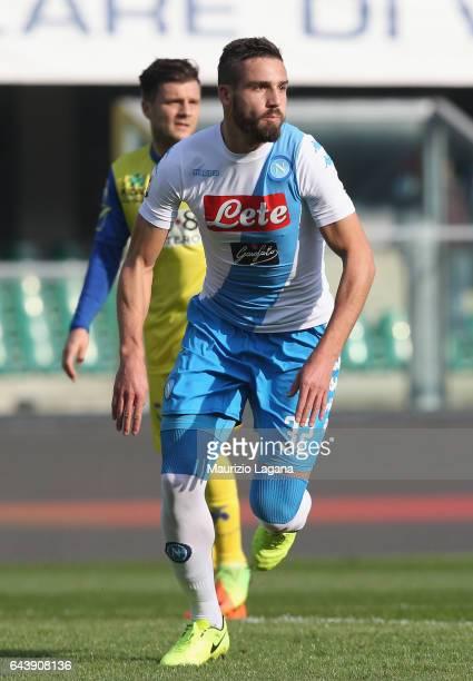 Leonardo Pavoletti of Napoli during the Serie A match between AC ChievoVerona and SSC Napoli at Stadio Marc'Antonio Bentegodi on February 19 2017 in...