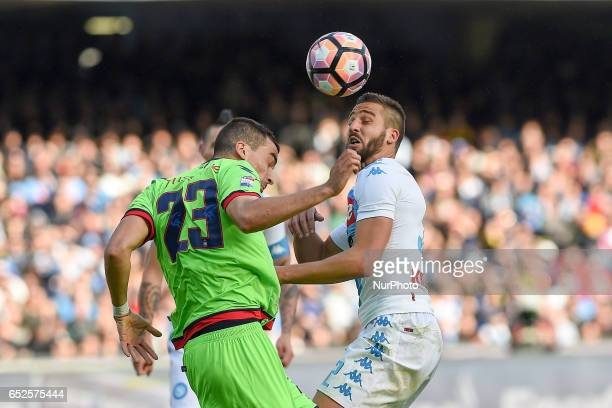 Leonardo Pavoletti of SSC Napoli competes for the ball with Noe Dussenne of FC Crotone during the Serie A TIM match between SSC Napoli and FC Crotone...