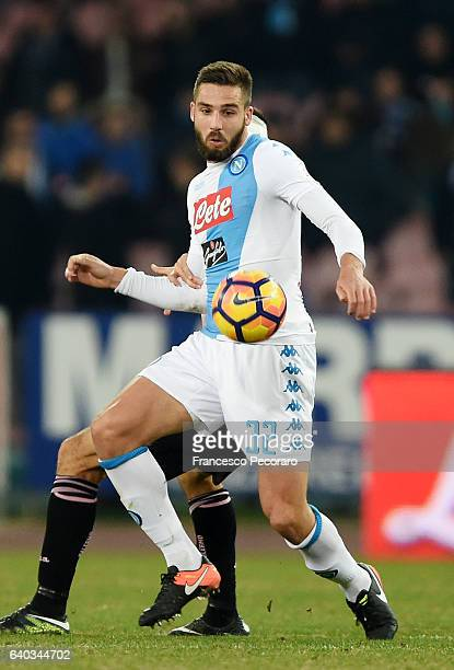 Leonardo Pavoletti of SSC Napoli in action during the Serie A match between SSC Napoli and US Citta di Palermo at Stadio San Paolo on January 29 2017...