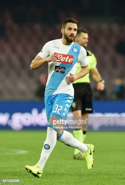 Leonardo Pavoletti of SSC Napoli in action during the Serie A match between SSC Napoli and Genoa CFC at Stadio San Paolo on February 10 2017 in...