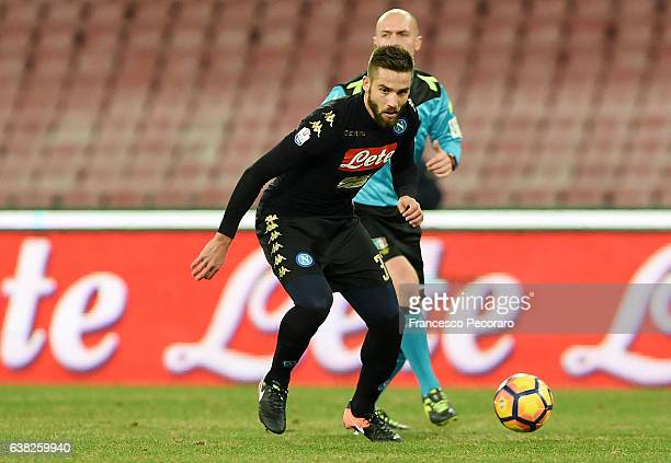 Leonardo Pavoletti of SSC Napoli in action during the TIM Cup match between SSC Napoli and AC Spezia at Stadio San Paolo on January 10 2017 in Naples...