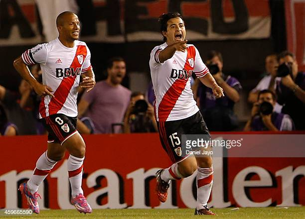 Leonardo Pisculichi of River Plate celebrates after scoring during a second leg semifinal match between River Plate and Boca Juniors as part of Copa...