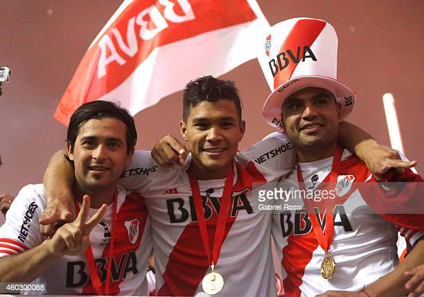 Leonardo Pisculichi Teofilo Gutierrez and Gabriel Mercado of River Plate celebrate after winning a second leg final match between River Plate and...
