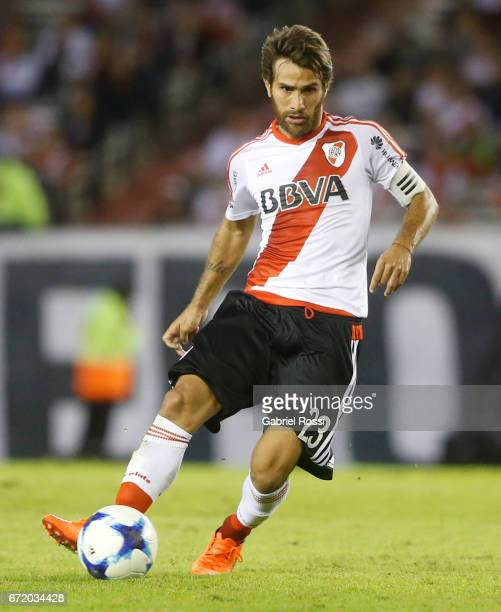 Leonardo Ponzio of River Plate drives the ball during a match between River Plate and Sarmiento as part of Torneo Primera Division 2016/17 at...