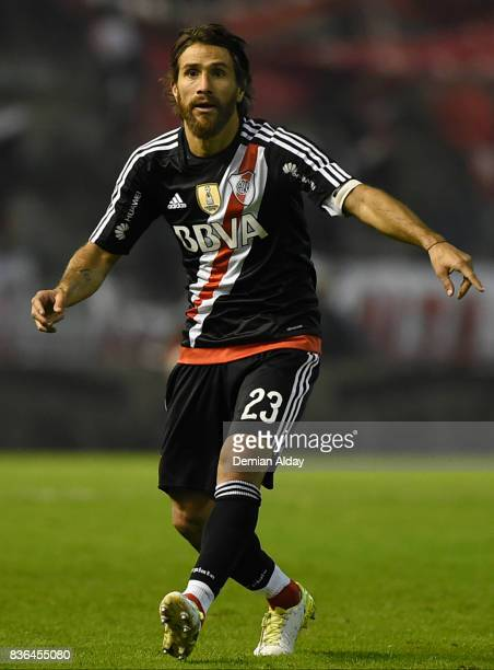 Leonardo Ponzio of River Plate reacts during a match between River Plate and Instituto as part of round 16 of Copa Argentina 2017 at Jose Maria...