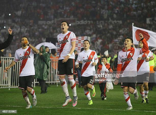 Leonardo Ponzio Ramiro Funes Mori Sebastian Driussi and Matias Kranevitter of River Plate celebrate after winning the second leg final match between...