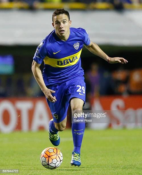Leonardo Rafael Jara of Boca Juniors drives the ball during a second leg match between Boca Juniors and Nacional as part of quarter finals of Copa...