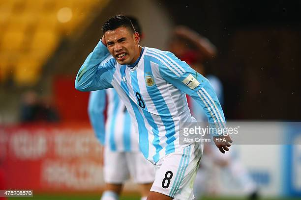Leonardo Rolon of Argentina reacts during the FIFA U20 World Cup New Zealand 2015 Group B match between Argentina and Panama at Wellington Regional...
