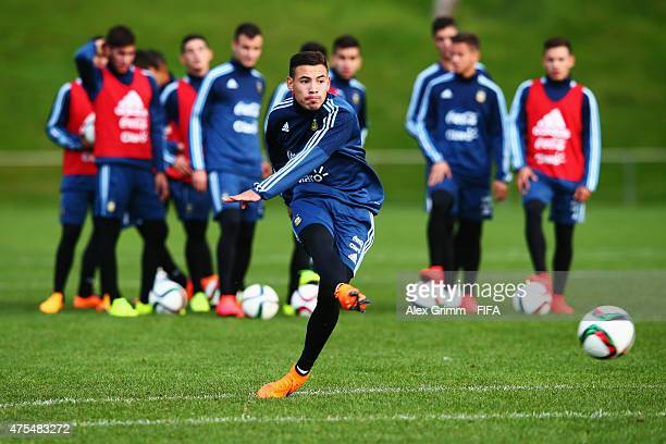 Leonardo Rolon shoots the ball during an Argentina U20s training session at Porirua Park on June 1 2015 in Wellington New Zealand