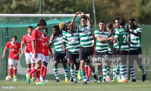 Leonardo Ruiz of Sporting CP B celebrates after scoring a goal during the Segunda Liga match between Sporting CP B and SL Benfica B at CGD Stadium...