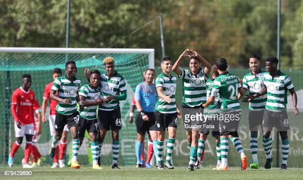 Leonardo Ruiz of Sporting CP B celebrates with teammates after scoring a goal during the Segunda Liga match between Sporting CP B and SL Benfica B at...