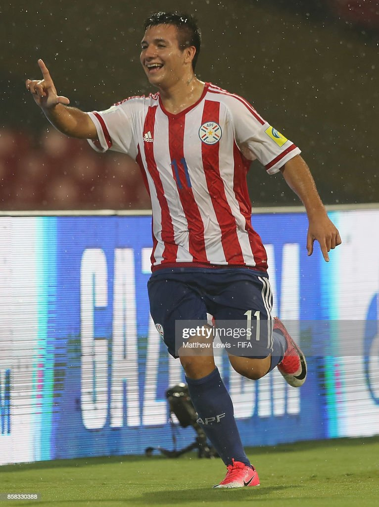 Leonardo Sanchez of Paraguay celebrates his goal during the FIFA U-17 World Cup India 2017 group B match between Paraguay and Mali at Dr DY Patil Cricket Stadium on October 6, 2017 in Mumbai, India.