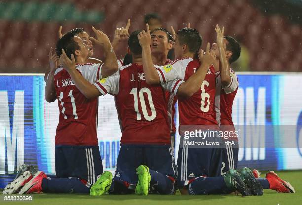 Leonardo Sanchez of Paraguay is congratulated on his goal during the FIFA U17 World Cup India 2017 group B match between Paraguay and Mali at Dr DY...