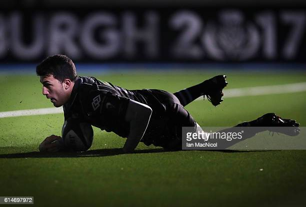 Leonardo Sarto of Glasgow runs in his first try during the European Rugby Champions Cup match between Glasgow Warriors and Leicester Tigers at...