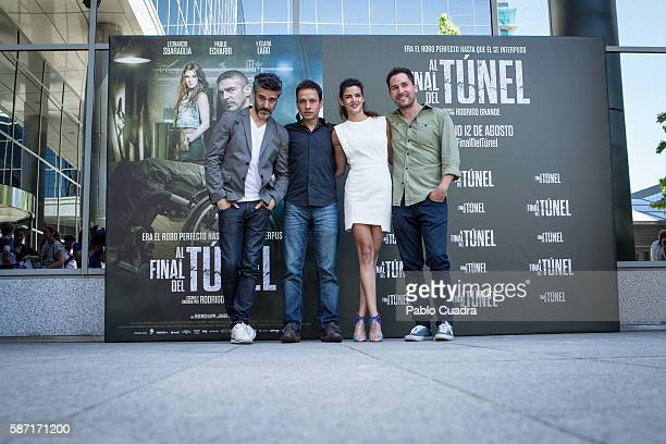 Leonardo Sbaraglia Rodrigo Grande Clara Lago and Javier Godino attend 'Al Final Del Tunel' photocall at Warner Bros office on August 8 2016 in Madrid...