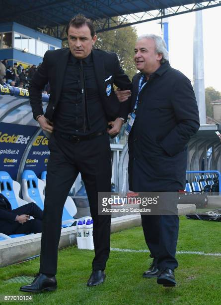 Leonardo Semplici head coach of Spal and Walter Mattioli president of Spal during the Serie A match between Spal and ACF Fiorentina at Stadio Paolo...