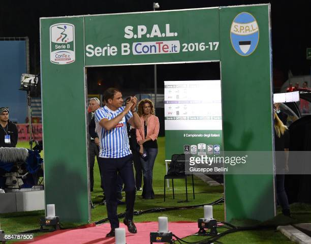 Leonardo Semplici head coach of SPAL celebrates promotions in series A after the Serie B match between SPAL and FC Bari at Stadio Paolo Mazza on May...