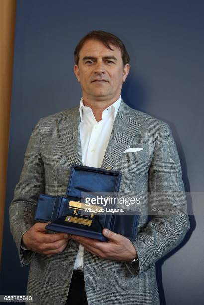 Leonardo Semplici receives the Panchina D'Oro Prize during Italian Football Federation 'Panchine D'Oro E D'Argento' Prize at Coverciano on March 27...