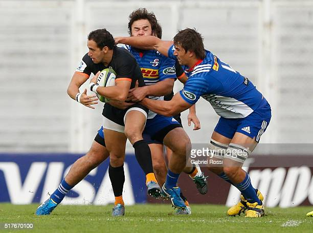Leonardo Senatore of Jaguares fights for the ball with Eben Etzebeth of Stormers during the 2016 Super Rugby match between Jaguares and Stormers at...