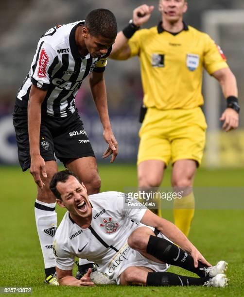 Leonardo Silva of Atletico MG and Rodriguinho of Corinthians battle for the ball during a match between Atletico MG and Corinthians as part of...