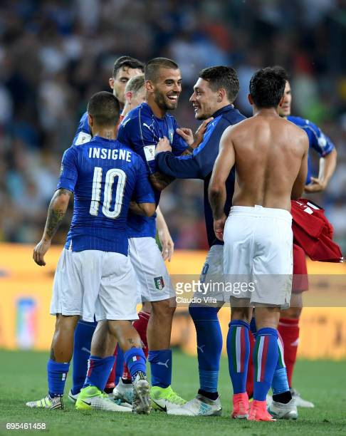 Leonardo Spinazzola and Andrea Belotti of Italy celebrate at the end of the FIFA 2018 World Cup Qualifier between Italy and Liechtenstein at Stadio...