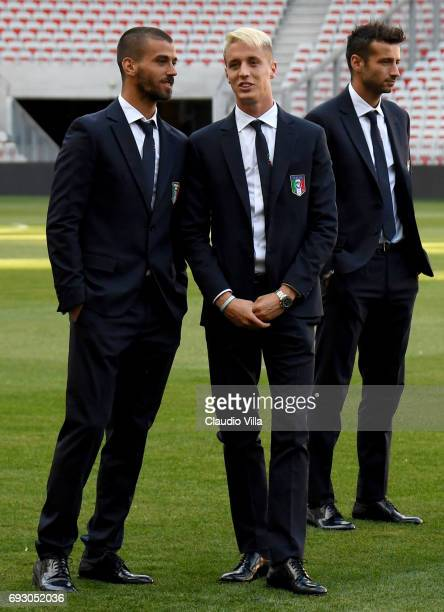 Leonardo Spinazzola and Andrea Conti of Italy attend Italy walk around at Allianz Riviera Stadium on June 6 2017 in Nice France