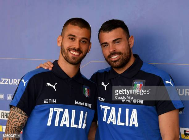 Leonardo Spinazzola and Andrea Petagna of Italy pose after the press conference at the club's training ground at Coverciano on March 21 2017 in...