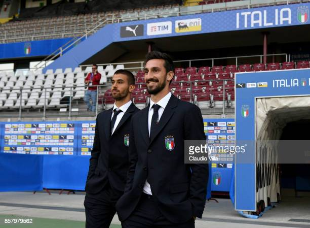 Leonardo Spinazzola and Davide Astori of Italy look on during Italy pitch inspection at Allianz Stadium on October 5 2017 in Turin Italy