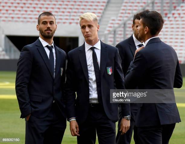 Leonardo Spinazzola Andrea Conti and Lorenzo Pellegrini of Italy attend Italy walk around at Allianz Riviera Stadium on June 6 2017 in Nice France
