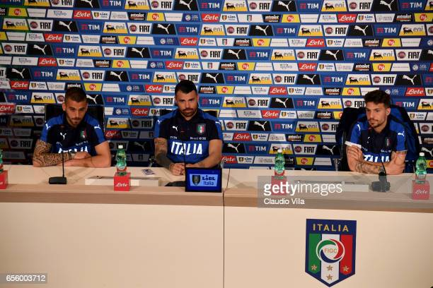 Leonardo Spinazzola Andrea Petagna and Simone Verdi of Italy speak with the media during the press conference at the club's training ground at...