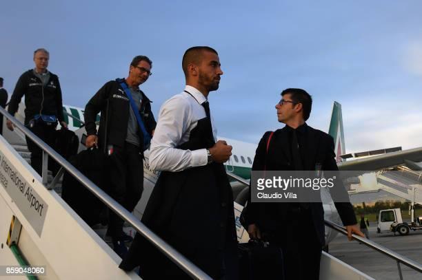 Leonardo Spinazzola of Italy arrives in Albania on October 8 2017 in Shkoder Albania